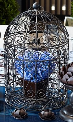 Bird Cage Centerpiece with Blue Floral