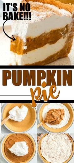 No Bake Pumpkin Cheesecake, No Bake Pumpkin Pie, Pumpkin Pie Recipes, Baked Pumpkin, Pumpkin Recipes Easy Quick, Crust Less Pumpkin Pie, Pumpkin Pie Fillings, Pumkin Pie Easy, Pumpkin Pie Recipe Graham Cracker Crust