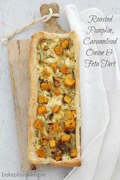 Roasted Pumpkin, Caramelised Onion & Feta Tart