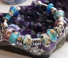 A silver-plated Cuff Bracelet with Fairy and Unicorn Dangle Charms, Teal, Plum Beads, Gift for her, Sister, Aunt, Mom, Grandmother FD002 by BlingItOutLoudCharms on Etsy