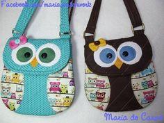 Projeto Bolsinha de Alcinha Corujinha Diy Bags Patterns, Owl Purse, Animal Bag, Patchwork Bags, Sewing Toys, Kids Bags, Vintage Bags, Small Bags, Handmade Bags
