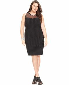 Calvin Klein Plus Size Sleeveless Illusion Sheath #plussizedresses