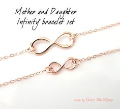 Mother & Daughter Infinity Bracelet Set - Rose Gold I really want this for me a my daughter