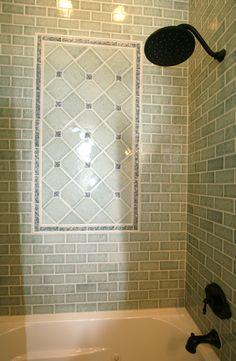 Guest Bath using Pratt & Larson tile by Thomas Homes, Inc. Bathroom Renovations, Bathroom Ideas, Oaks House, Upstairs Bathrooms, Vintage Bathrooms, Guest Bath, Tile Design, Backsplash, Baths
