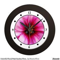 Colorful Floral Pink Garden Flower Modern Digits Wall Clock