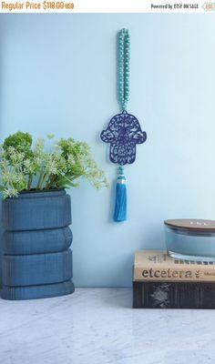 Holidays Sale Royal Blue Metal Wall Hanging Hamsa by stylishluck