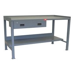 Work Bench w Drawer 32D x 72W by Jamco. $632.24. Heavy-Duty Work Bench, Fixed, Top Width 72 In., Top Depth 30 In., Top Thickness 12 ga., Work Surface Steel, 3/16 In. Pads, 2 In. Square Tube Steel Legs, Capacity 3000 lb., Welded Top, 2 In. Square Tubular Legs with Pad, Lower Shelf with 4 In. Stringer Construction, Powder Coated Finish, Gray, Overall Height 35 In., Overall Width 72 In., Overall Depth 30 In., Max. Height 35 In., Min. Height 35 In., Load Rating 3000 lb., (1)...