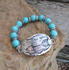 Cowgirl Bling Silver FOLLOW YOUR ARROW Bracelet Gypsy Turquoise Beaded Western #Unbranded #stretch