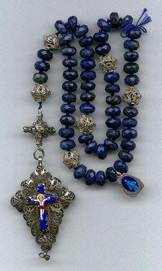 Wonderful Silver & Lapis Bavarian Rosenkranz Rosary – 75 Grams