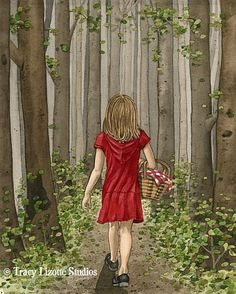Red Riding Hood - 8x10 archival watercolor print by Tracy Lizotte