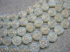 19 - 10mm White Opal with Gold Snail Shell Swirl Spiral Coin Czech Glass Beads