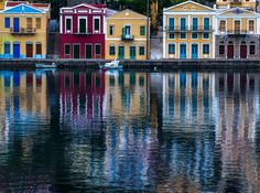 Simi, an island three nautical miles off the coast of Turkey, where I painted for two weeks Beautiful Islands, Beautiful Places, Colorful Houses, Greece Islands, Small Island, Heaven On Earth, Greece Travel, Rhodes, Art And Architecture