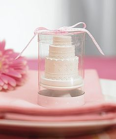 Elegant Lace Wedding Cake Candle  as favor