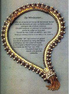 van cleff zip necklace | Zip necklace by Van Cleef  Arpels 1951