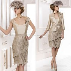 Wholesale 2014 Mother Dress - Buy Women's Suit of Scoop Sheath Knee-length Lace Evening Gowns 2014 with 3/4 Sleeves Jacket Party Formal Plus Size Mother of the Bride Dresses, $157.9 | DHgate