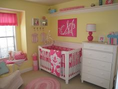 color scheme for carlee's new room - yellow walls, beige carpet and everything else hot pink
