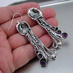Hadar Designers Handmade Art Long Sterling Silver Genuine Amethyst Earrings (H) #HadarDesigners #DropDangle