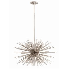 """Chandeliers: Zanadoo Small Chandelier (#89670). 12 light starburst design in polished nickel is perfect by itself or can be grouped with the larger version 89989. We love it with the silver capped round bulbs. Must use at least (1) 12"""" pipe for assembly. Approved for use in covered outdoor areas."""