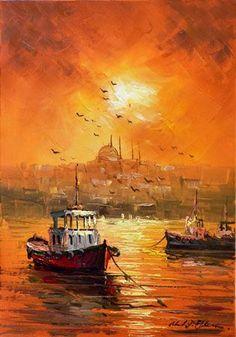 Painting by Mustafa Eldeniz City Painting, Oil Painting Abstract, Artist Painting, Abstract City, Boat Art, Turkish Art, City Art, Contemporary Paintings, Beautiful Paintings
