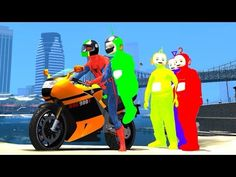 Spiderman Yellow Motorbike Fun with the Teletubbies | Nursery Rhymes (So...