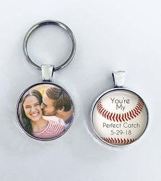"ANNIVERSARY GIFT for boyfriend, husband with DATE - Your Photo on one side - Baseball theme - ""You're my perfect catch"" - boyfriend, husband"
