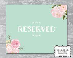 Peony Flower Reserved Sign 8x10 DIY Wedding by CreativePapier, $5.00