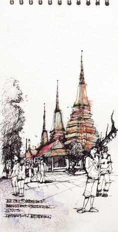Sketch:Wat Pho,Bangkok,Thailand