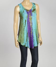 This Turquoise Tie-Dye Swing Top - Women is perfect! #zulilyfinds, $14 !!