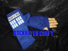NEW design- Blue Fleece Dr Who fingerless gloves TArdiS Style police box with thumbs. $29.00, via Etsy.