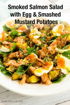 Smoked Salmon Salad with Egg & Crispy Smashed Mustard Potatoes – This delicious… Smoked Salmon Salad with Egg & Crispy Smashed Mustard Potatoes – This delicious warm smoked salmon salad makes the perfect easy brunch or lunch. Easy Clean Eating Recipes, Gluten Free Recipes For Breakfast, Clean Eating Recipes For Dinner, Brunch Recipes, Smoked Salmon Salad, Smoked Salmon Recipes, Fish Recipes, Slow Cooker Balsamic Chicken, How To Make Salad