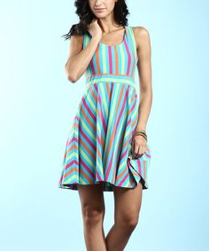 Look at this #zulilyfind! Turquoise Stripe Cross-Back Sleeveless Dress by Young Threads #zulilyfinds