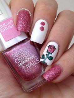 Glittery Tulip Nail Art
