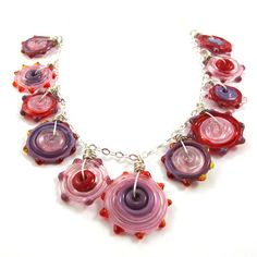 Glass necklace  Lampwork necklace  red pink Funky by SariGlassman, $58.00