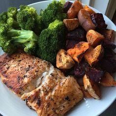 Salmon, broccoli and roasted beets & sweet potatoes