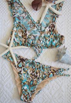 0439ecdbea166 Womens bikini set   front tie bikini   womens swimsuit   wrap around bikini    scrunch butt bikini   two piece bikini   criss cross back