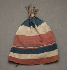 (This is the cap Claudette's father wore before he was decapitated) Liberty cap, France, Silk knit in blue, cream and red; worn during French Revolution. Historical Costume, Historical Clothing, France Flag, French History, 18th Century Fashion, French Revolution, Textiles, Loom Knitting, Marie Antoinette