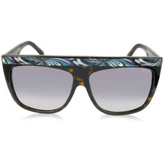 Emilio Pucci Sunglasses EP0008 Havana Oversize Acetate Women's... ($295) ❤ liked on Polyvore featuring accessories, eyewear, sunglasses, rectangular glasses, over sized sunglasses, acetate sunglasses, emilio pucci sunglasses and logo lens sunglasses