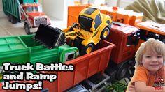 Garbage Truck Videos For Children l TOY TRUCK BATTLE Jumping Ramps l Gar...