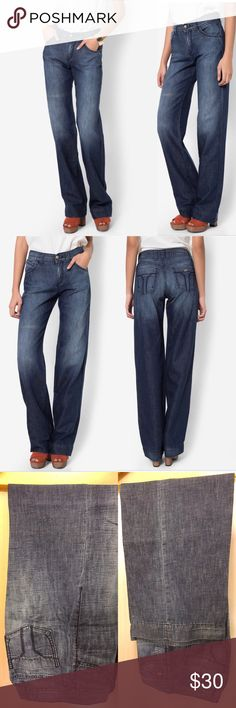 """NWOT Miss Sixty """"Mila"""" Demin wide leg/retro jeans Feel comfortable in this soft denim cotton pair from Miss Sixty Jeans that will accomplish your casual cool look with ease. The pair comes in light washed section and distinguished hardward for a fierce detail. In wide legs design, spice up your look for a cool edge. Miss Sixty Jeans Flare & Wide Leg"""