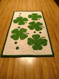 Valentine and St Patrick's Day table runner by Covequilter on Etsy.