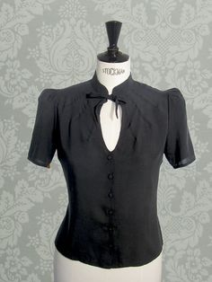 1940s Style Black Blouse   Vintage Swing Retro by GreenofGrey