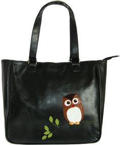 Owl vegan leather Tote bag in Black - LAVISHY Boutique