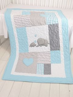 Aqua Gray Blanket, Elephant Quilt Blanket, Chevron Baby Patchwork Blanket  A brand new colour combination of the elephant blankets, aqua -