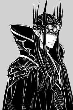 Melkor (Morgoth) the black. In Manga style! Call me crazy if you'd like but I think some villains are just fun to draw!
