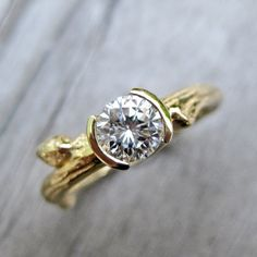 Moissanite Twig Engagement Ring in Recycled Gold
