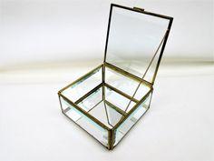 Vintage Brass Glass Box  Glass Display Case  Beveled Glass