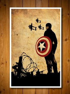 Superhero Inspired Poster Set. Captain with P-38's, I want one.