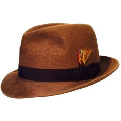 Gents Schiaparelli Fedora Hat 1950s ($515) ❤ liked on Polyvore featuring accessories, hats, schiaparelli hat, brown fedora, schiaparelli, vintage hats and vintage fedora