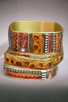 Red Tribal Bangles by Liz Hall Polymer Clay. #bangles, #polymerclay, #tribal