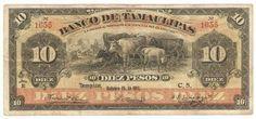 Mexico banknotes 10 Pesos note bill Banco de Tamaulipas